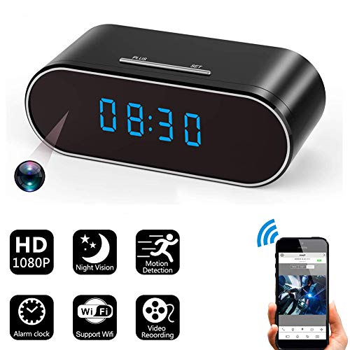 HD 1080P Wireless WiFi Hidden Spy Camera Alarm Clock with Night Vision/Motion Detection/Loop Recording,Phone APP & PC Software Remote Monitored Mini Smart Nanny Cam