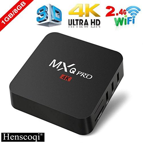 Henscoqi MXQ PRO Smart TV Box 1GB 8GB 4K HD 3D Wifi H.265 Android TV Box [Pure Version]