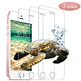 wsky Panzerglasfolie für iPhone SE 5S 5C 5 [3 Stück], 9H Festigkeit, Anti-Kratzen, Anti-Bläschen Schutzfolie, Bildschirmschutzfolie für iPhone SE/5S/5C/5[4,0 Zoll]