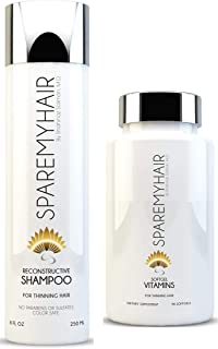 Spare My Hair Shampoo 8oz & Vitamins Soft Gel 90 Caps, for Hair Growth with Biotin, Yucca Extract, Horsetail, Saw Palmetto, Jojoba, Multi-Vitamins, Natural Oils & Keratin Protein for Healthy Hair