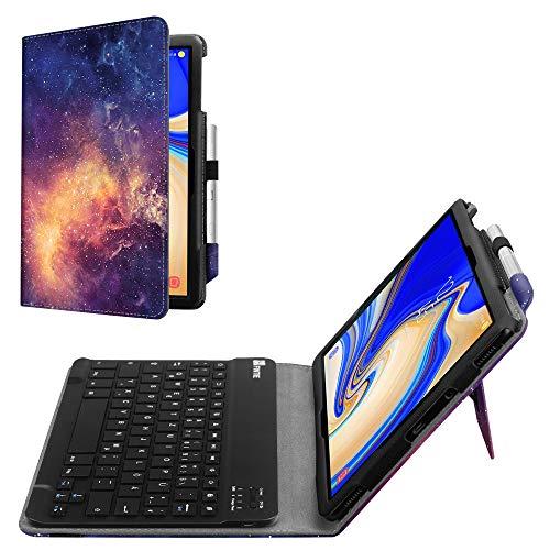 Fintie Tastatur Hülle für Samsung Galaxy Tab S4 T830 / T835 (10.5 Zoll) 2018 Tablet - Slim Fit Kunstleder Stand Schutzhülle mit Magnetisch Abnehmbar Drahtloser Bluetooth Tastatur, Die Galaxie