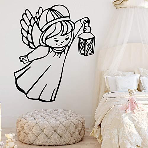 hulinhai Engel Cartoon Mädchen Aufkleber Wandtattoo für Kinder Wohnzimmer Home Dekoration wasserdichte Wandkunst Film PVC-Material 43x51cm