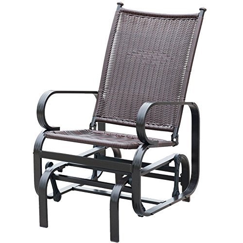 PatioPost Outdoor Patio Glider Chair Comfortable Porch Wicker Rocking Chair for Garden,Porch,Backyard, Poolside, Lawn, Brown