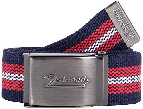 2Stoned Tresor-Gürtel Geldgürtel Navy-Rot-Weiß 4 cm breit Matte Schnalle Speed, Safe Belt für Damen und Herren