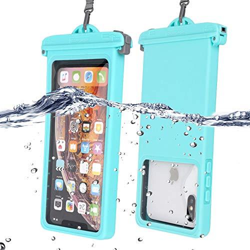 Funda impermeable IPX8 para teléfono móvil, bolsa seca con pantalla táctil, con cordón portátil, para iPhone 11/XS/XS Max/XR/X Galaxy S10/S9/S8 hasta 6.9', perfecto para playa, senderismo, viajes, 1 unidad, azul