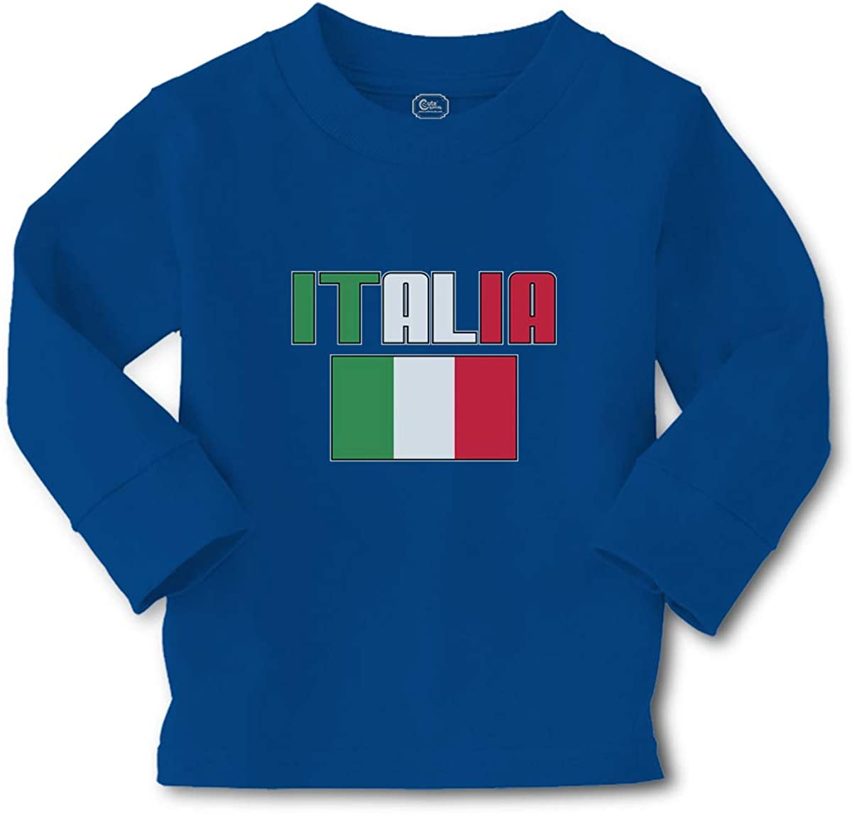 Kids Long Sleeve T Shirt Italia American National Flag United States Cotton Boy & Girl Clothes Funny Graphic Tee Royal Blue Design Only 3T