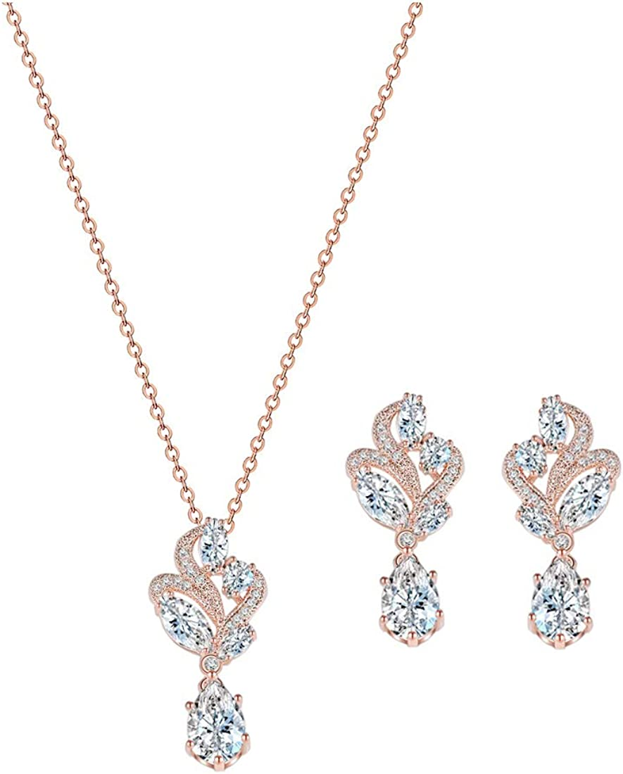 YSOUL Zirconia Crystal Bridal Bridesmaid Earrings Necklace Jewelry Set