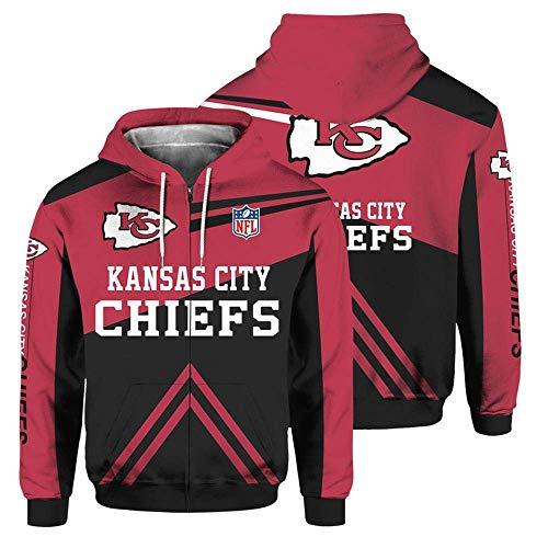 NFLSWER NFL Unisex Pullover Zip Jacket - Rugby Fan Kansas City Chiefs 3D Flight Suit Lente Sweatshirt Fietsen Jersey - Honkbal Uniform Lange Mouw Jas Rood+