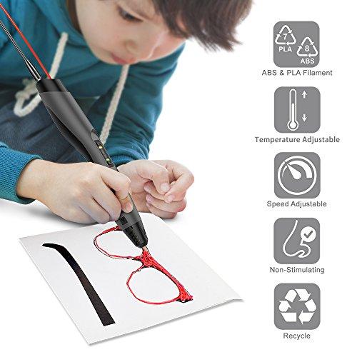 3D Stift, Tecboss 3D Pen mit LCD Anzeige, 3d Drucker Stifte für Kinder, Erwachsene, 8 Einstellbare Geschwindigkeit 3D Stifte Kit mit PLA und ABS Modus, Passt für DIY, Kritzelei, Zeichnung und Kunst & Handgefertigte Werke, Schwarz - 2