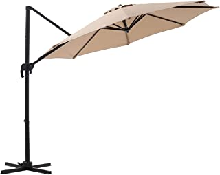 SUPERJARE 10 Ft Offset Hanging Umbrella, Crank Lift & 5 Lock Positions, 360° Rotation, Outdoor Patio Cantilever with Tilt Canopy - Beige