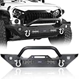 Hooke Road Front Bumper with Winch Plate & 4X LED Lights & D-rings Compatible with Jeep Wrangler JK & Unlimited...