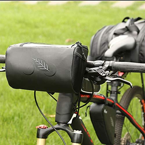 Alforjas para bicicleta con marco frontal de bicicleta, bolsa para manillar de bicicleta con pantalla táctil de TPU, protección para la lluvia al aire libre, bolsa para bicicleta de montaña