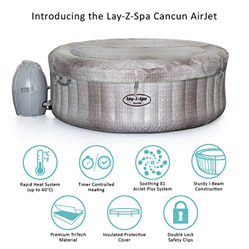 Lay-Z-Spa Monaco Hot Tub, 90 AirJet Massage System Inflatable Spa with Rapid Heating, Large 6-8 Person Capacity