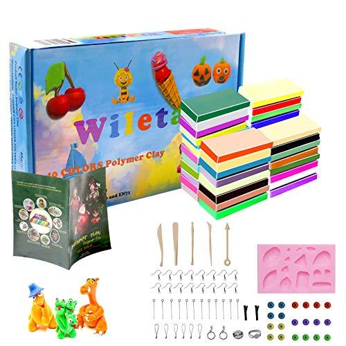 Wiletasz 50 Farben Polymer Clay, Kinder Polymer Ton Set Ofen backen Lehm Figur DIY Basteln & Modellierung Lehm