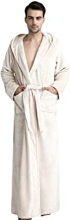 COMVIP Men Full Length Winter Hooded Nightwear Bathrobe with Pockets