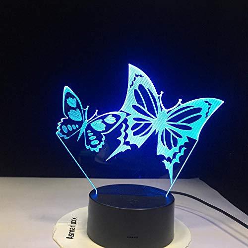 WxzXyubo Los niños de la mariposa LED de la luz de la noche 3D juegan el regalo de vacaciones