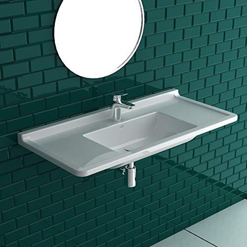 Duravit Starck 3 Möbelwaschtisch 105 cm Breite weiß | mit 1 Hahnloch | mit Überlaufschutz | Wandwaschtische aus Sanitärkeramik | Waschbecken mit Befestigungsmateriale zur Wandmontage