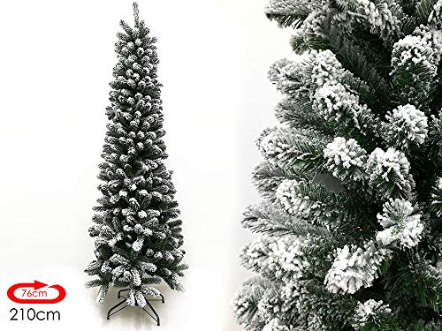 Megashopitalia Albero di Natale Slim Pino Verde e Innevato 210CM Superfolto Realistico Apertura Ombrello