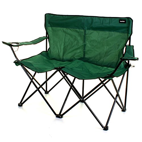 Marko Outdoor Double Camping Chair 2 Seater Folding Portable Fishing Picnic Steel Festival (Green)