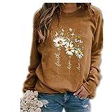 Sudadera con Estampado de otoño/Invierno para Mujer, Camiseta Informal, Cuello Redondo, suéter de Manga Larga
