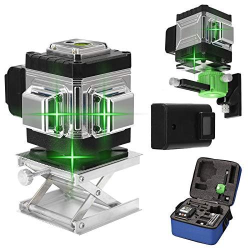 Kecheer Nivel láser autonivelante línea verde 12 líneas Con 2 Baterías,Niveles láser 360 grados,Nivelador laser verde para suelo y pared con línea vertical horizontal oblicua