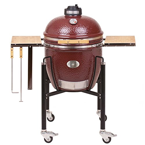 Monolith Classic PRO Serie 1.0 RED inklusive Gestell & Seitentischen Keramikgrill Grill