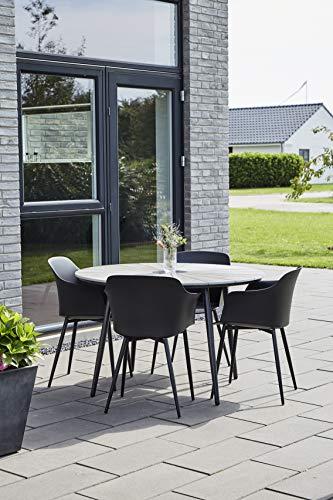 Envy Gartenmöbel Sitzgruppe Terrasse, den Garten oder den Balkon – 5 teilige Essgruppe für 4 Pers. in skandinavischen Design, wetterfest und langlebig durch hochwertige Materialien - Marmorplatte