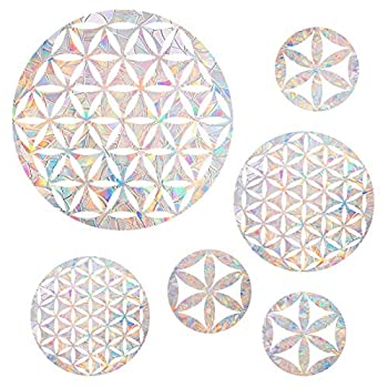6 Pieces Flower of Life Window Clings - Anti-Collision Window Decals to Save Birds from Window Collisions,Non Adhesive Prismatic Vinyl Window Clings Rainbow Stickers