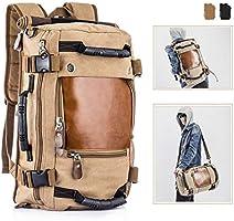 Overmont Męski Plecak Wielofunkcyjny Torba Podróżna na Kemping Wędrówki Wycieczki, Khaki, 35 l, OM-Backpack(KQ)