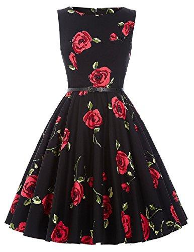GRACE KARIN Floral Print Picnic Dresses for Women Cotton Size XL F-25