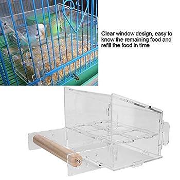 Mangeoire automatique pour cage à oiseaux en acrylique avec perchoir pour perruche, canari, cacatoès, pinson
