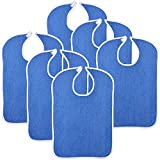 Reusable Terry Cloth Adult Bibs – 6 Pack Super Absorbent Waterproof Clothing...