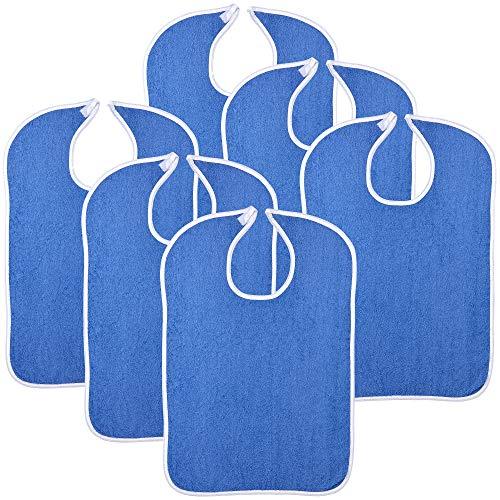 "6PK Reusable Terry Cloth Adult Bibs – 18"" x 30"" Super Absorbent Washable Apron"