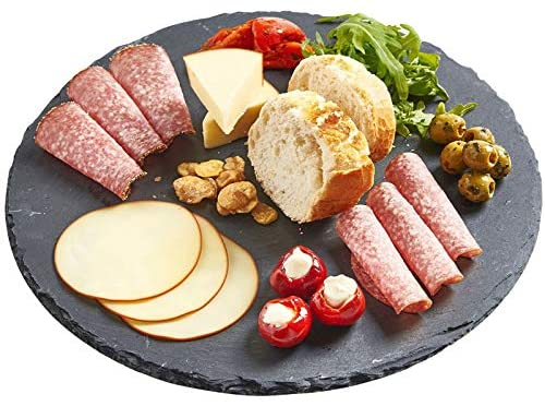 Cheese Board Display Chalkboard 16 Long Appetizers Charcuterie Tray with Natural Edge and Chalk Pencil for Cheese Dried Fruits Black mDesign Slate Stone Gourmet Serving Platter Meats