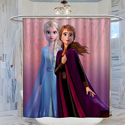 AFGGOL Anime Movie Frozen Duschvorhänge Die Eiskönigin Elsa & Anna Prinzessin Polyester Stoff Badezimmer Dekoration Duschvorhang mit Haken 183 x 183 cm