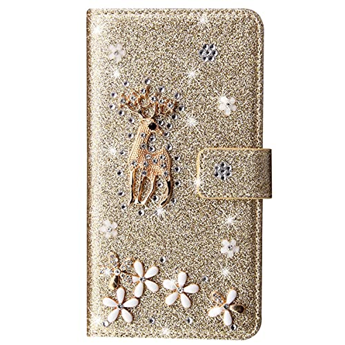 Blllue Funda tipo cartera compatible con Redmi Note 9s, Bling Glitter Lucky Deer Diamond Pu Cuero Flip Phone Cover para Redmi Note 9 Pro - Glod