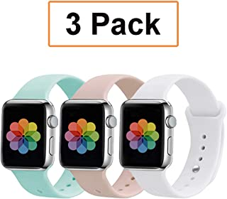 UPOLS Compatible with Apple Watch Band 38mm 42mm 40mm 44mm Sport Band, Silicone Sport Strap Replacement Bands Compatible for iWatch Series 4/3/2/1 S/M M/L
