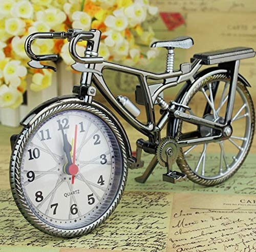 Hpybest Alarm Klok Vintage Retro Stille Pointer Klokken Bike Stijl Klok luid Alarm Klok Nachtkastje Home Decors