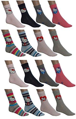 Hello Kitty Mädchen Socken Sparset 8 Paar oder 16 Paar (31-34, 16 Paar)