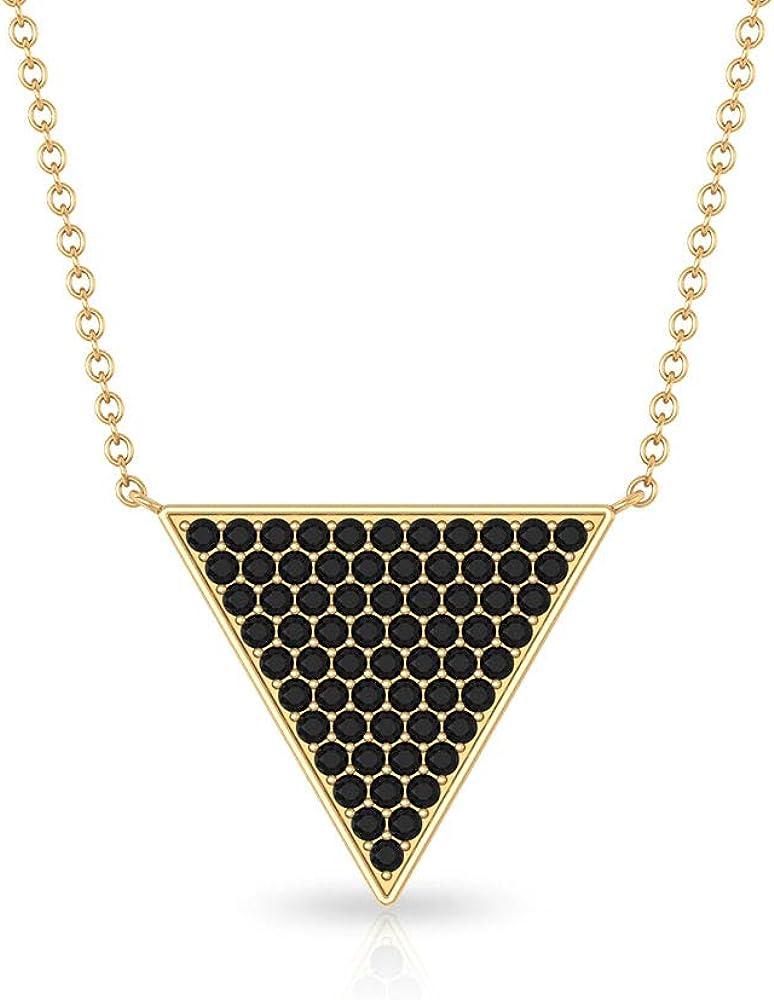 Black Diamond Pendant, Cluster Pendant, Gold Triangle Necklace (1.27 CT, 1.20 MM Round Lab Created Black Diamond)