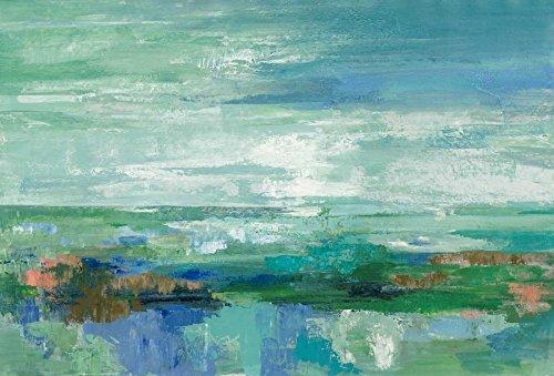 Feeling at home Kunstdruck-auf-Papier-cm_87_X_130-Vassileva-Silvia-Abstrakt-Bild-Poster-abstrakt-bellen-blau-braun-zeitgenössischen-smaragdgrün-Landschaft-formt-teal-wasser-weiß