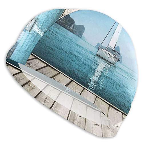GUUi Zwemmuts Elastische Zwemhoed Duiken Caps, Pine takken Heerlijke Cookie En Present Op Houten Planken, Voor Mannen Vrouwen Jongeren
