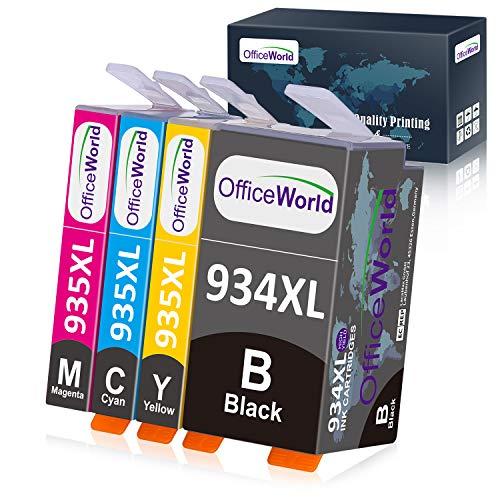 Officeworld 934XL 935XL Alta Capacidad Cartuchos de Tinta Reemplazo Para HP 934 935 Tinta Compatible con HP Officejet Pro 6230 6812 6815 6835 6820 6830 (1 Negro, 1 Cian, 1 Magenta, 1 Amarillo)