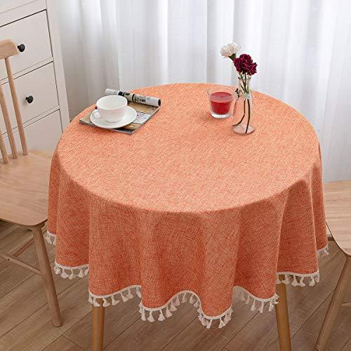 U-KIME Mantel Redondo Color Sólido Textura de Lino Encaje de Borlas, Lavable a Máquina, Diámetro 150cm, Naranja