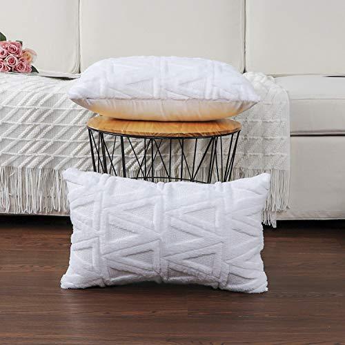 Madizz - Juego de 2 fundas de almohada decorativas de terciopelo suave de lana corta, de lujo, estilo de cojín, para sofá o recámara