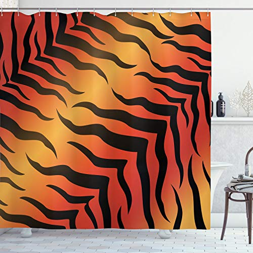 Tiger Skin Pattern Shower Curtain Set with Hooks