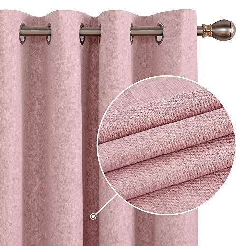 Deconovo Ösenvorhang mit Schaumbeschichtung Blickdicht Leinenoptik Gardinen Vorhang 183x132 cm Korallenrose 2er Set