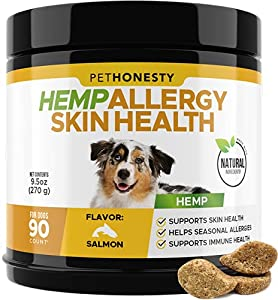 PetHonesty Hemp Allergy SkinHealth Supplement for Dogs - Fish Oil Omega 3s, All-Natural Soothing Snacks with Hemp Oil - Promotes Calming for Dogs, Probiotics for Shiny Coats, Reduce Shedding/Hotspots