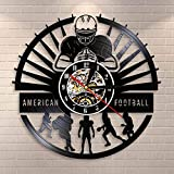 Joueurs de Football américain Horloge Murale Sport vestiaire décor Mural Design Moderne Rugby Vinyle Record Horloge Murale Football Fan Cadeau