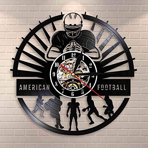 wtnhz LED-American Football Wanduhr Sport Umkleideraum Wanddekoration modernes Design Fußball Vinyl Schallplatte Wanduhr Fußball Fan Geschenk